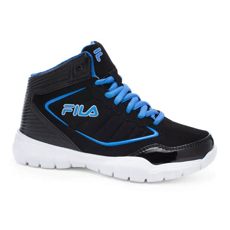 boys high top basketball shoes fila boy s status 2 black blue white high top basketball