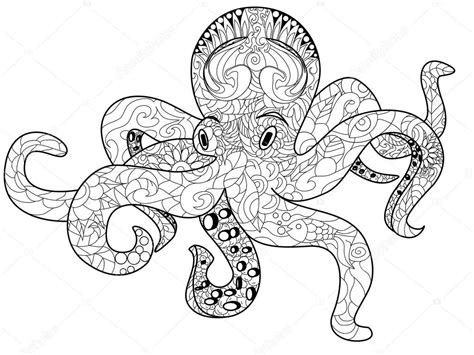 octopus coloring page adults octopus coloring boek voor volwassenen vector