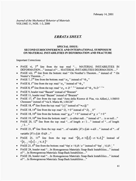 Errata Sheet Template by Errata Sheet Journal Of The Mechanical Behavior Of Materials