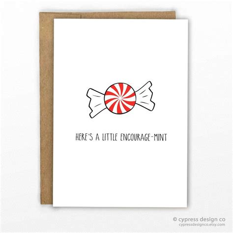 silly cards a encourage mint pun card card stock