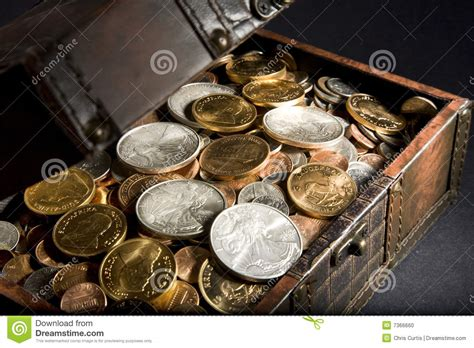 gold silver treasure chest with gold and silver stock photo image