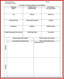 Preschool Lesson Plan Template Creative Curriculum by Creative Curriculum For Preschool Lesson Plan Templates