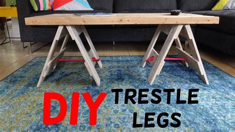 simple industrial trestle leg table build youtube diy