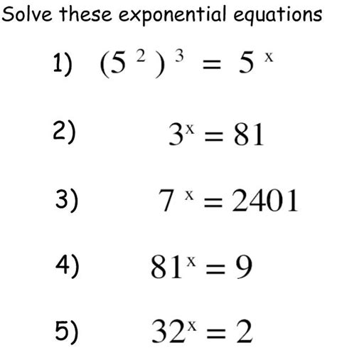 Exponential Equations Worksheet by Exponentials And Logarithms C2 Maths Teaching