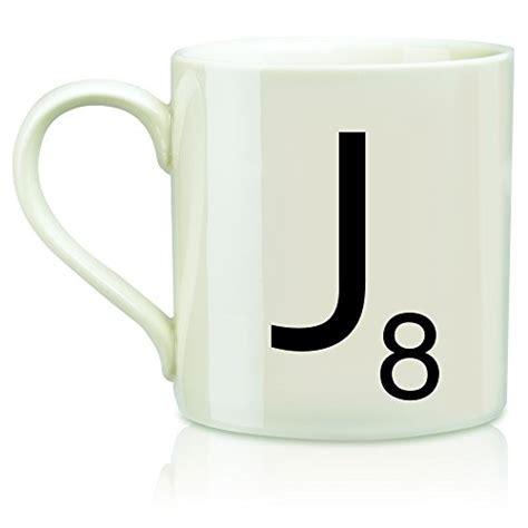 Wild and Wolf Letter J Scrabble Mug, Cream/Black   Gourmet Coffee & Equipment