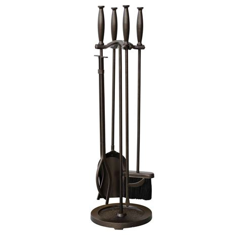 uniflame bronze 5 fireplace tool set with cylinder
