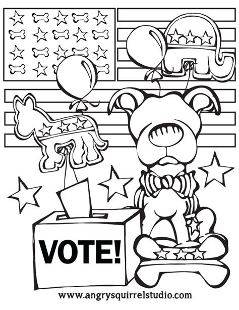 election day coloring pages preschool bark the vote angry squirrel studio