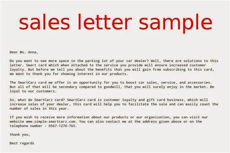 sales letter sle sles business letters