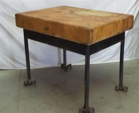 chopping block wood table top steel metal legs industrial