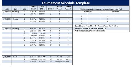 tournament schedule template tournament schedule template word excel