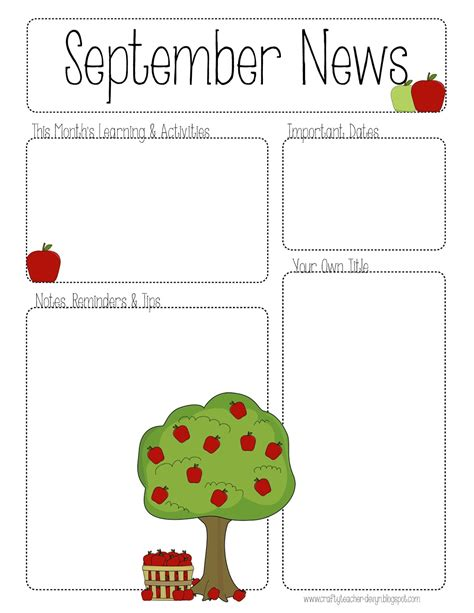 newsletter templates free printable the crafty september printable newsletter all