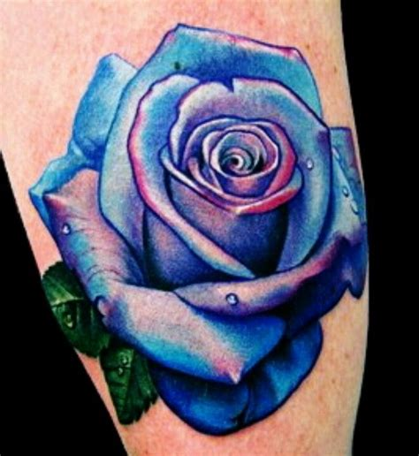 purple rose tattoos blue ink snowflakes blue