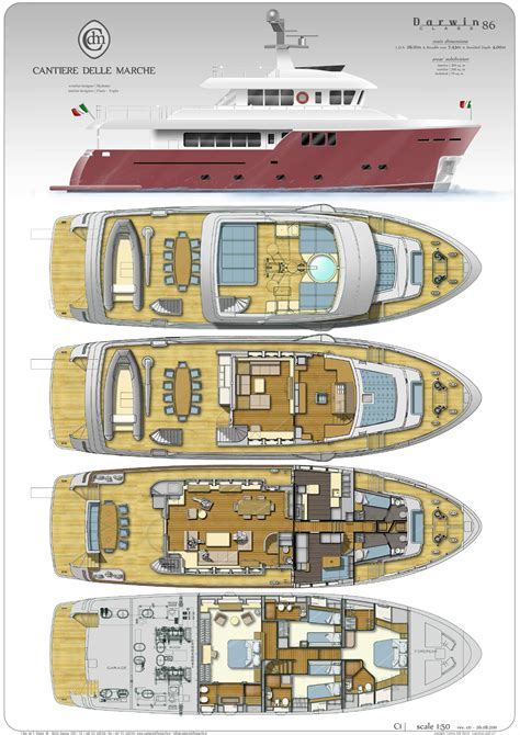 cantiere delle marche darwin  deckplans arcon yachts