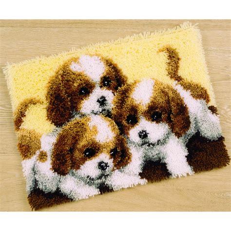 latch hook rug kit latch hook rug kit three puppies pn 0147227