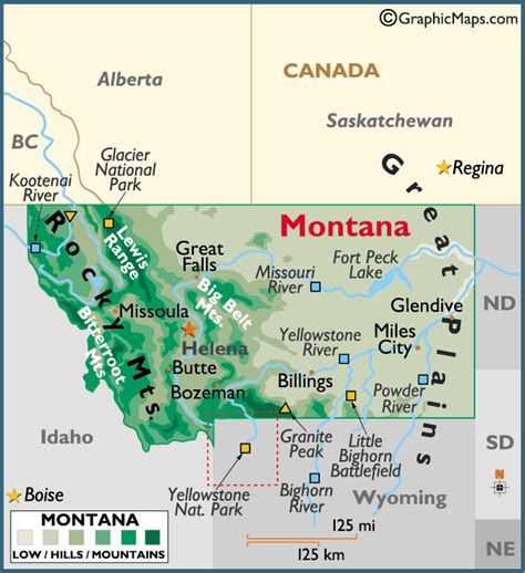 geographical map of montana montana large color map