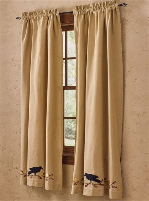 primitive panel curtains primitive crow lined panel curtains mpn 365 43