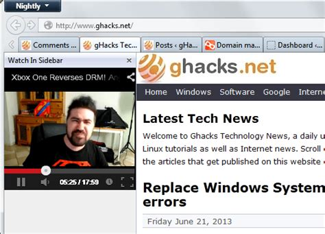 youtube videos news and tips ghacks technology news watch youtube videos in firefox s sidebar ghacks tech news