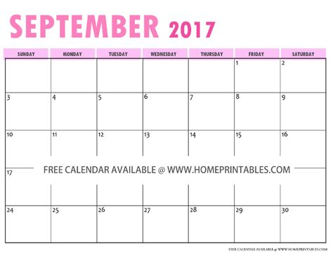Calendar 2017 September Printable Free Something To Free Printable 2017 Calendar Home