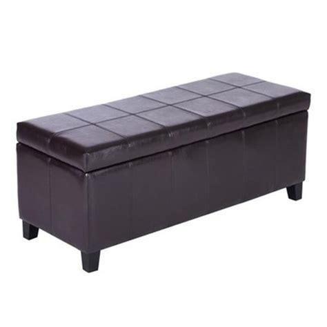 bench outlet canada homcom leather padded storage bench ottoman brown canada