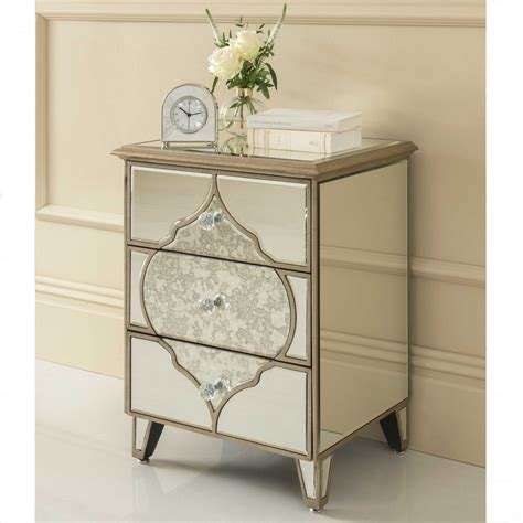 Venetian Glass Bedroom Furniture Sassari Mirrored Bedside Table Venetian Glass Furniture
