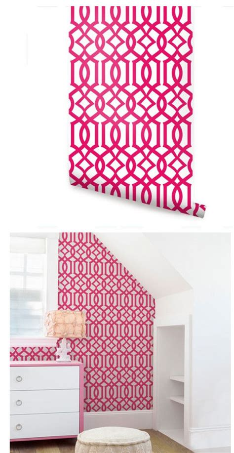 Modern Trellis Hot Pink Peel and Stick Wallpaper Kids Room Wallpaper Pattern