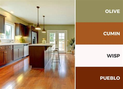 captivating kitchen color schemes warm palette brown