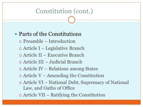 7 sections of the constitution the us constitution ppt download