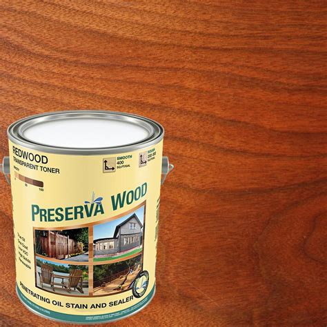 outdoor furniture stain and sealer preserva wood 1 gal 100 voc based redwood penetrating stain and sealer 20102 the home depot