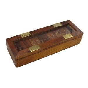 Handmade Dominoes - indian handmade dominoes set storage box brass inlay ebay