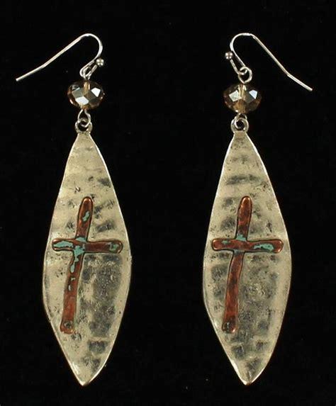 mfw29993 western hammered silver copper cross earrings