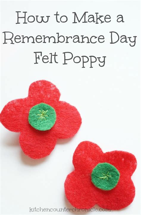 how to make a remembrance day felt poppy