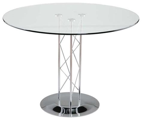 Eurostyle Trave 36 Inch Round Glass Dining Table W Chrome 36 Inch Glass Dining Table