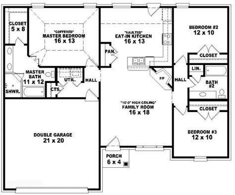 653788 One Story 3 Bedroom 2 Bath French Traditional Three Bedroom Floor Plan House Design