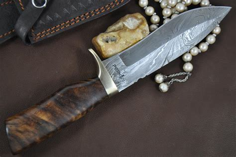 Handmade Bowie Knives Uk - custom handmade damascus bowie knife knife with