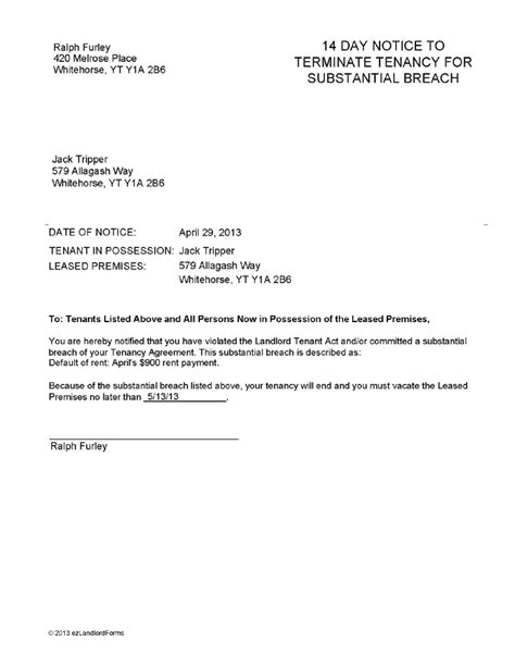 notification of termination of lease surrender of tenancy letter