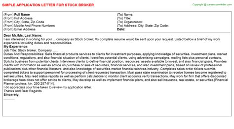 Stock Broker Cover Letter by Stock Broker Application Letter
