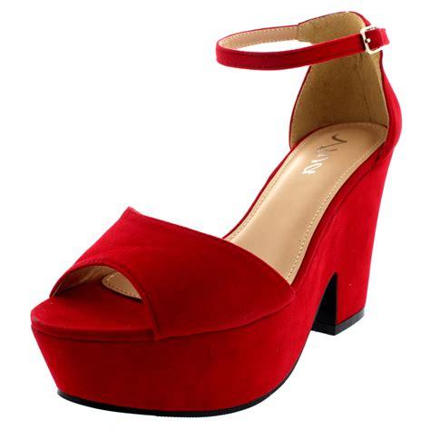 chunky platform high heels womens chunky heel platform ankle evening faux suede