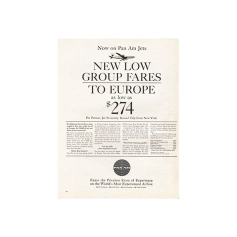 1962 pan am airlines vintage ad quot low fares to europe quot