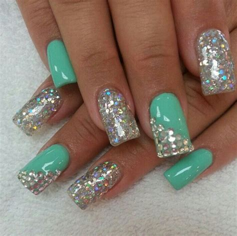 imagenes de uñas acrilicas color verde menta u 241 as acrilicas verde menta con plata