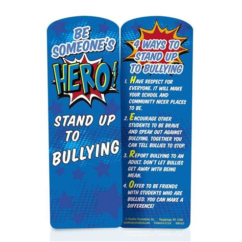 printable bullying bookmarks be someone s hero stand up to bullying die cut bookmark