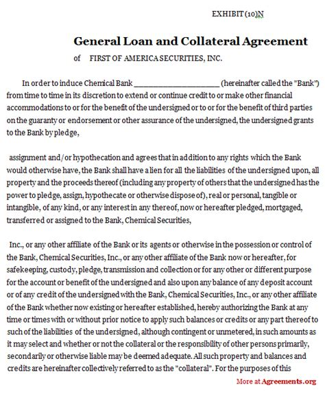 collateral loan agreement template secured personal loan definition utah personal loans