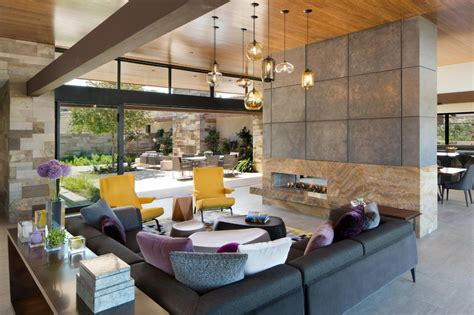 contemporary great room  gray sectional hgtv