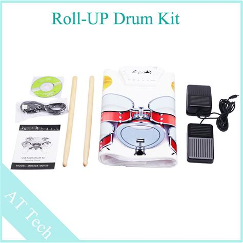 Usb Roll Up Drum Kit sale 3pcs lot electric drum usb roll up drum kit with 2 foot pedal drums electronic contains