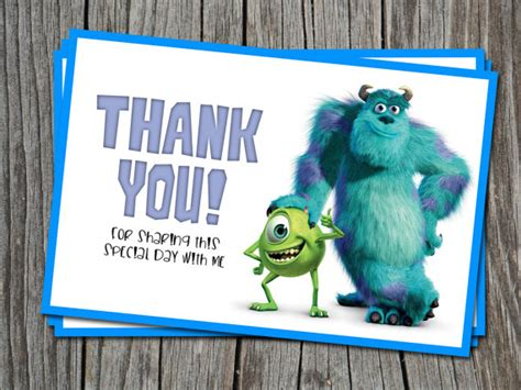 your inc instant thank you card monsters inc modern