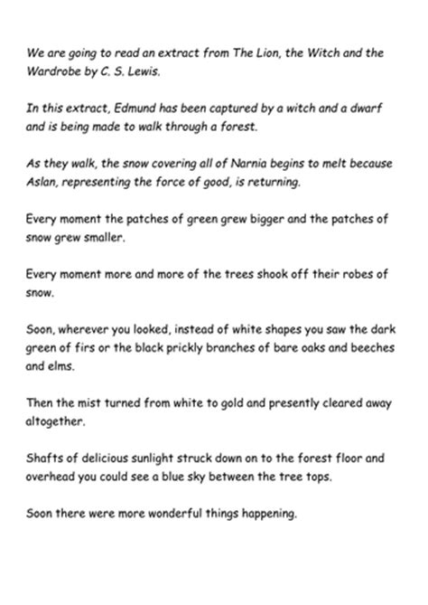 The The Witch And The Wardrobe Ks2 Resources by Extract From The The Witch And The Wardrobe By