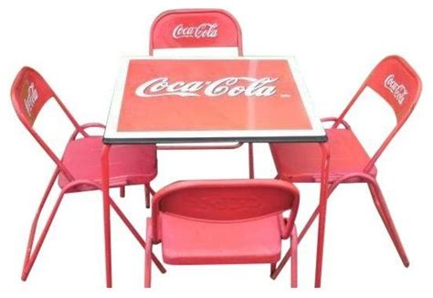 coca cola table and chairs set coca cola coke porcelain top table chairs dining sets