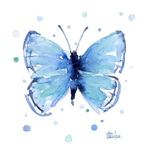 Butterfly Home Decor by Blue Watercolor Butterfly Painting By Olga Shvartsur