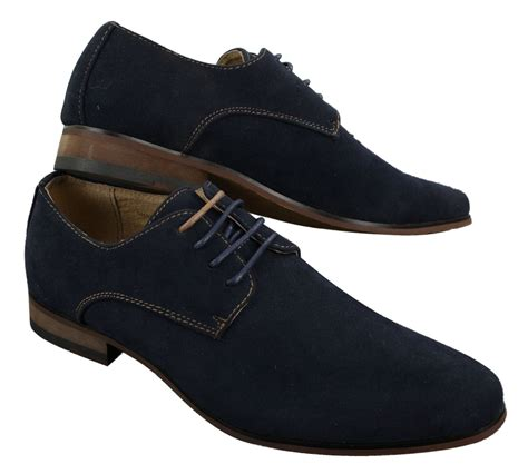 Casual Suede Navy mens nubuck suede laced smart casual shoes navy blue brown