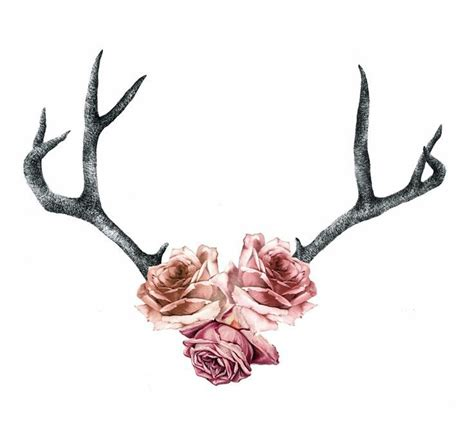 horn tattoo antlers with flowers drawing on