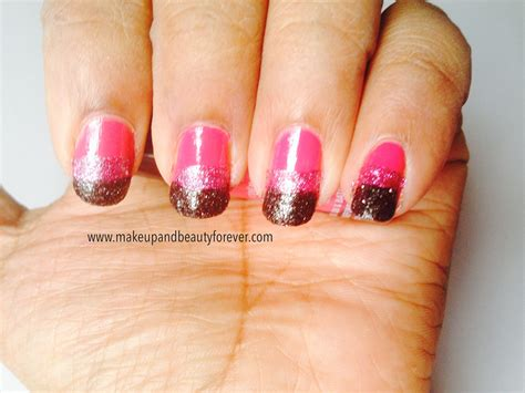 nail art tutorial with glitter pink and black glitter festive nail art tutorial